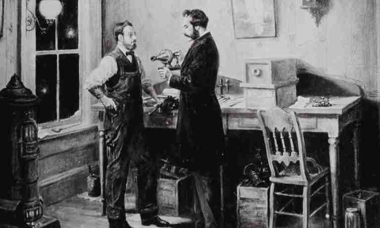 Black and White Sketch showing Alexander Graham Bell and Watson work on the Phone