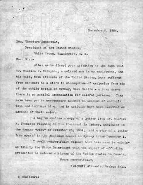 Bell's Letter to President Roosevelt