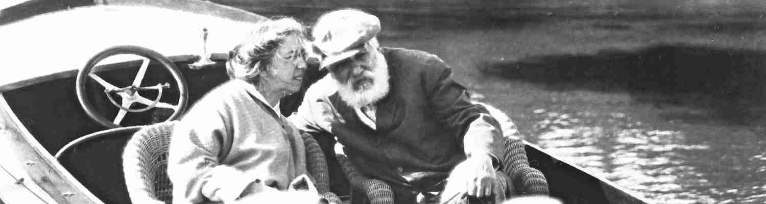 Black and White Image of Alexander & Mabel Bell on a Boat
